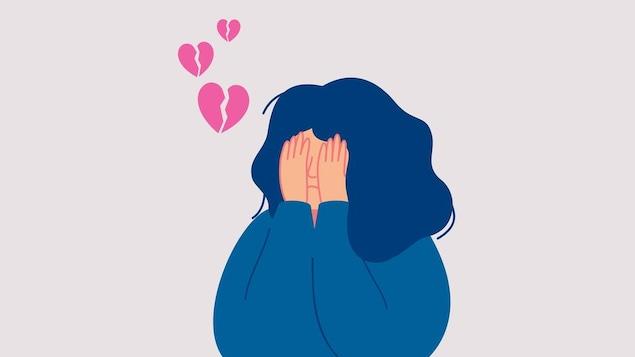Illustration d'une femme qui se couvre le visage de ses mains avec des icônes de cœurs brisés au-dessus de sa tête.