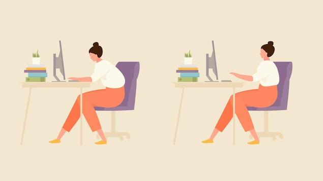 Illustration d'une femme courbée puis droite à un bureau devant un ordinateur.