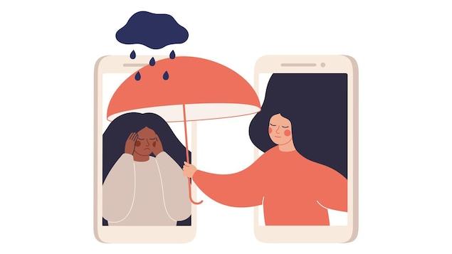 Illustration d'une femme qui tend son parapluie au-dessus d'une autre femme qui ne va pas bien mentalement.