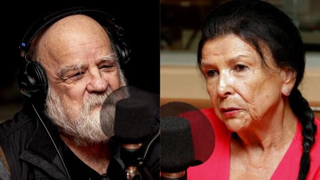 Portrait de Serge Bouchard et Alanis Obomsawin devant un micro de radio.