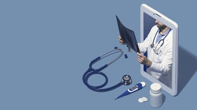 Montage photo d'un docteur dans l'écran d'une tablette qui regarde une radio.