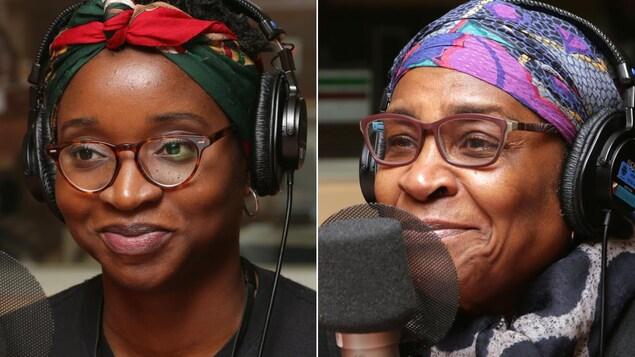 Montage de deux photos de Tracy Marcelin et de Mireille Métellus devant des micros de radio.