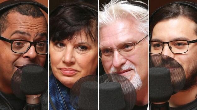 Montage de quatre photos de Gregory Charles, Nathalie Bondil, Jean Barbe et Fábio de Carvalho devant un micro de radio.