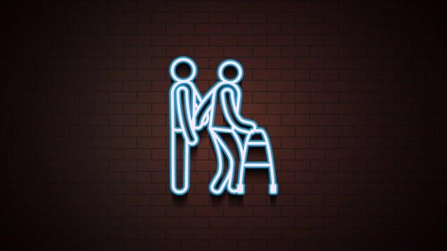 Illustration en néon d'une personne qui en accompagne une autre avec un déambulateur.
