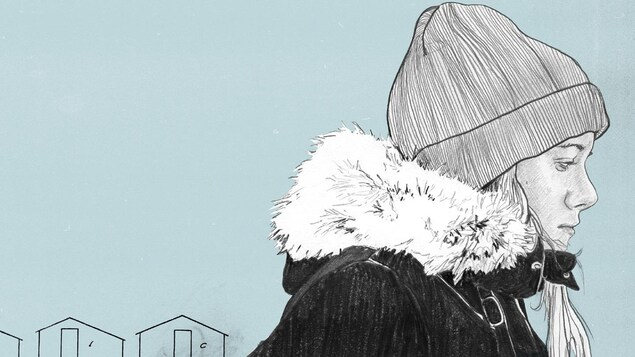Couverture qui représente une jeune femme mélancolique en habit d'hiver.
