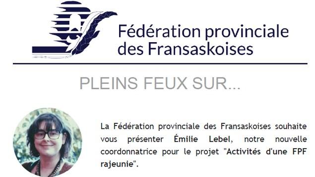 Annonce de la Fédération provinciale des Fransaskoises