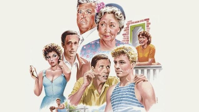 L'affiche du film Les Plouffe illustrant les personnages.