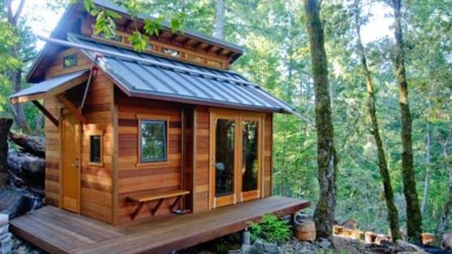 Une mini-maison dans la forêt.