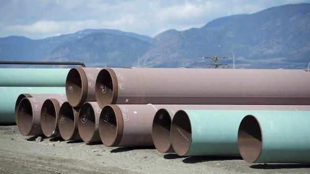 Des bouts de pipeline sur le sol devant les montagnes