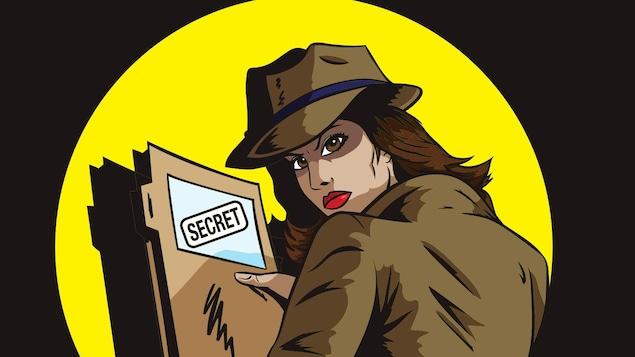 Illustration représentant une détective agent secret portant un dossier secret