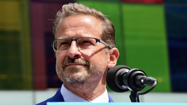 Le chef du Bloc québécois Yves-François Blanchet lors du lancement de sa campagne électorale 2021 à Montréal.