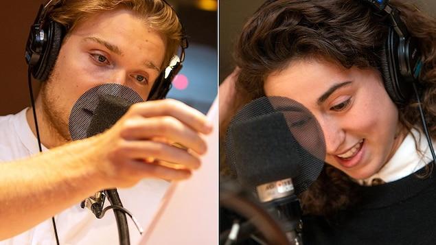 Montage d'un homme et d'une femme qui lisent devant un micro.