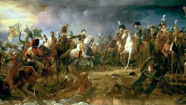 Une peinture qui montre une scène de guerre.