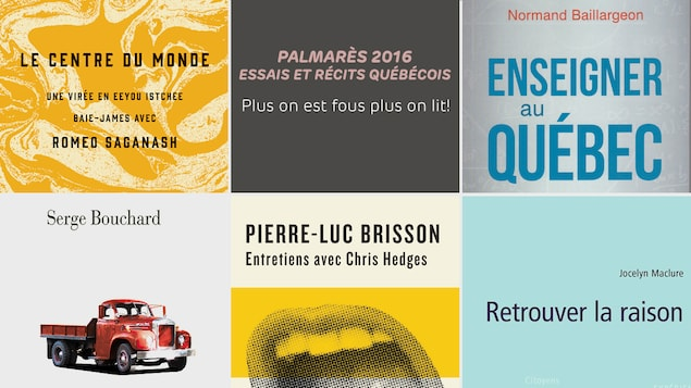Une partie des couvertures des essais d'Emmanuelle Walter, de Serge Bouchard, de Pierre-Luc Brisson, de Jocelyn Maclure et de Normand Baillargeon.
