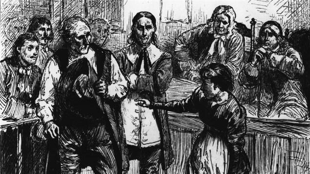 Illustration du procès des sorcières de Salem.