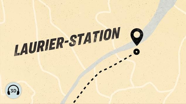Carte illustrant la distance parcourue par les protagonistes jusqu'à Laurier-Station