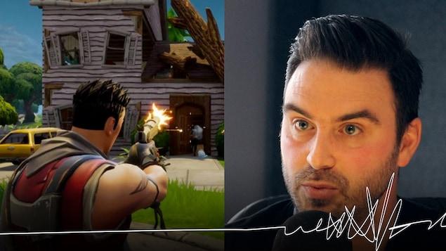 À gauche, une capture d'écran du jeu vidéo Fortnite. On voit un personnage masculin de dos tirer avec son pistolet en direction d'une maison. À droite, une photo de Bruno Georget devant un micro de radio.