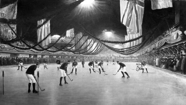 Absence de bandes, des buts rudimentaires et neuf joueurs par équipe : voici l'image évocatrice du premier match de hockey organisé tenu en 1875, à Montréal.