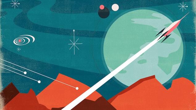 Illustration du décollage d'une navette sur Mars.