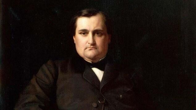 Une peinture montrant le portrait d'un homme du 19e siècle au visage sérieux.