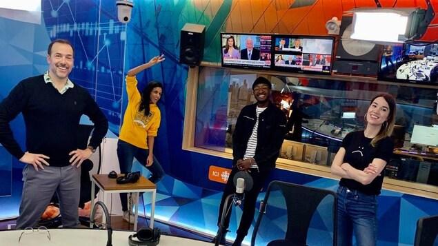 Pierre Brassard, Rebecca Makonnen, Nicolas Ouellet et Marie-Ève Tremblay dans le studio 17