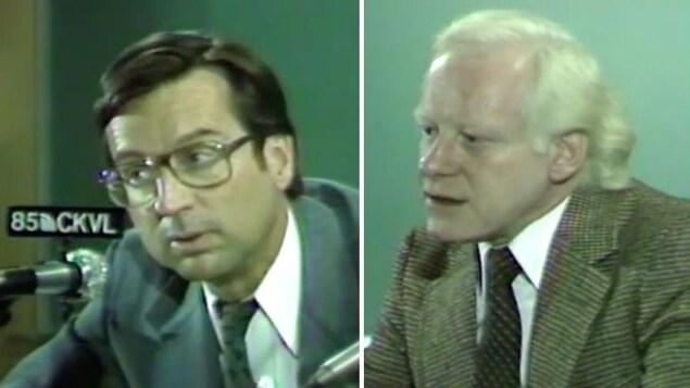 Montage photo à partir de captures d'écran montrant Robert Bourassa et Pierre Bourgault en plein débat.