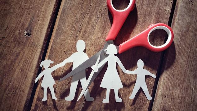 Un ciseau coupe en deux la représentation d'une famille en papier.