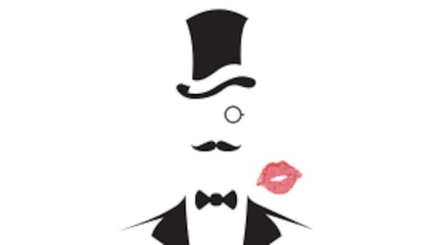 Dessin d'un homme à moustache et chapeau haut de forme.