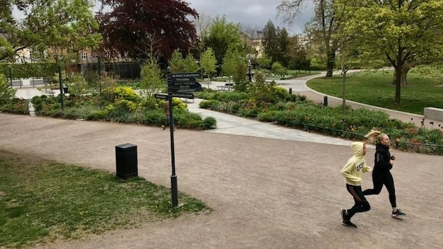 Deux jeunes femmes font du jogging dans un parc.