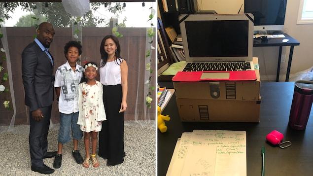 Photo de famille  et un ordinateur et des notes sur une feuille.