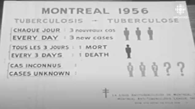 Affiche montrant le nombre de malades et de décès provoqués par la tuberculose à Montréal en 1956.