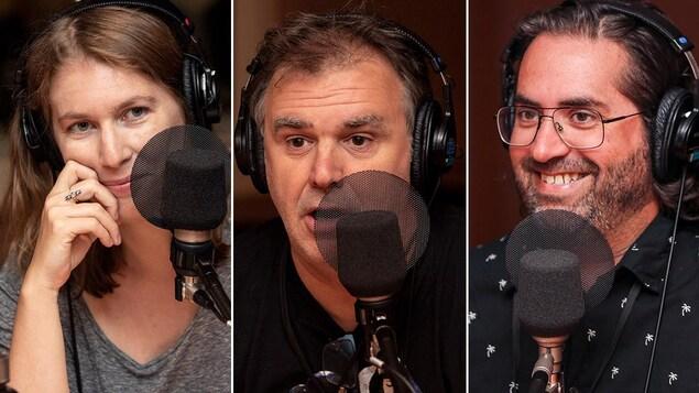 Trois invités s'expriment au micro.