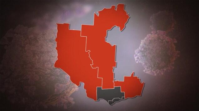 Une carte indiquant expliquant quelles parties de l'Outaouais sont en zone rouge et lesquelles sont mises sur pause.