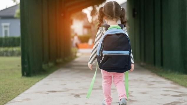 Enfant qui marche vers l'école