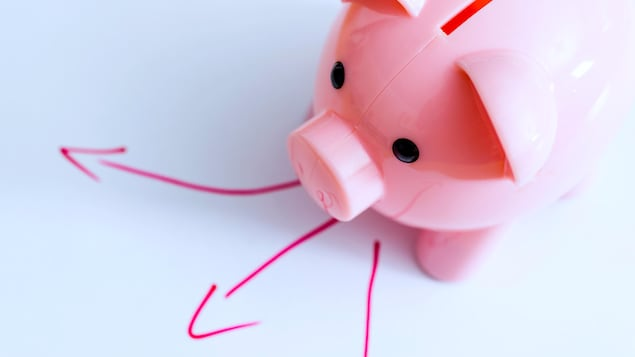 Small piggy bank standing in front of three arrows, showing different directions to invest.