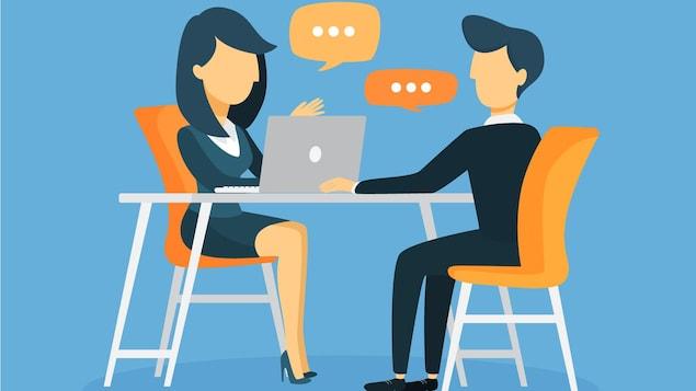 Une illustration d'un homme et d'une femme qui discutent dans un contexte professionnel.