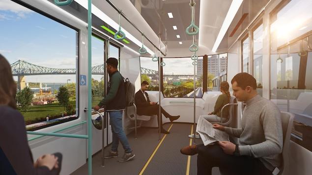 Simulation de l'intérieur d'un wagon du REM de l'Est.