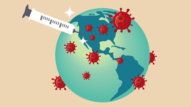 Une illustration de la planète Terre avec des coronavirus et une seringue.