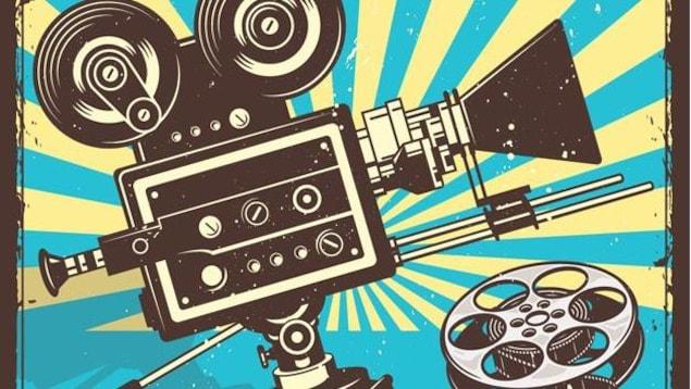 Illustration rétro d'une caméra et d'un film.