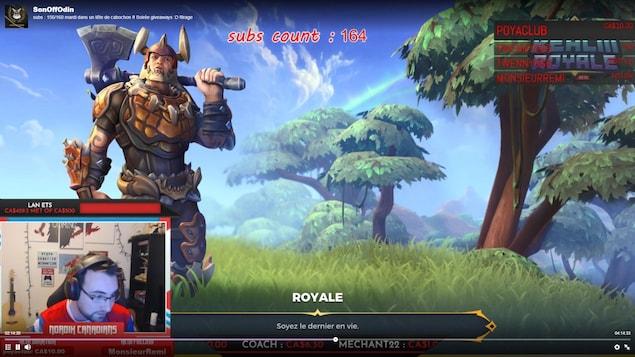 Capture d'écran d'un internaute qui joue en ligne sur la plateforme Twitch.