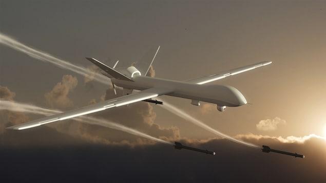 Un drone armé en vol.