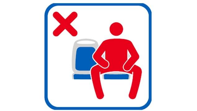 Un logo condamnant l'étalement masculin dans les transports en commun