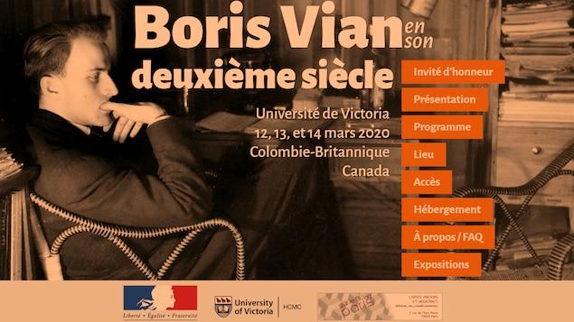 L'annonce du colloque Boris Vian en son deuxième siècle, Victoria 2020