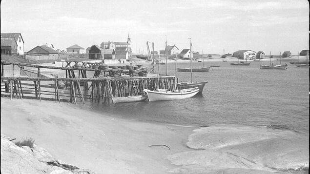 Vigneaux de pêcheurs (séchoirs en bois pour la morue) dans la baie du village de Rivière-au-Tonnerre en 1946. On aperçoit des maisons, l'église et des petits bateaux.