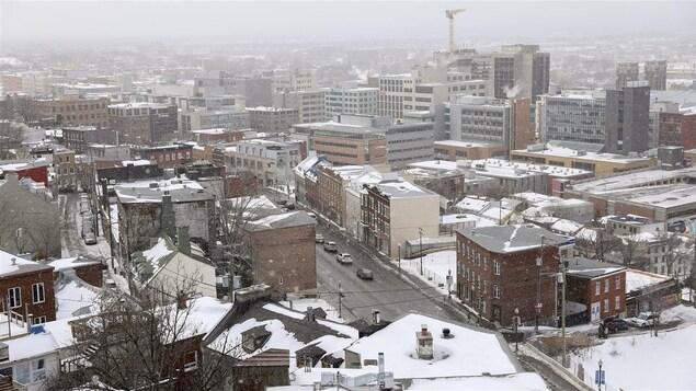 Vue de la Basse-Ville de Québec en hiver