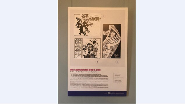 "Un panneau de l'exposition ""The Paradox Free Speech and Holocaust Denial in Canada"" avec des images d'une caricature."