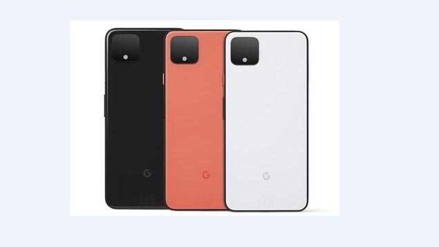 3 téléphones Google Pixel 4 : un noir, un orange et un blanc.