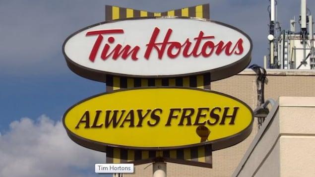 Une affiche de Tim Hortons