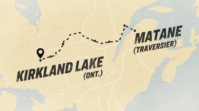 Le tracé d'un trajet sur une carte de Matane, au Québec, jusqu'à Kirkland Lake en Ontario.
