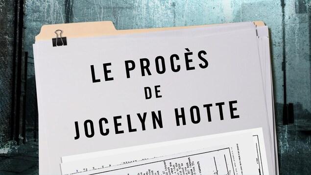 Une chemise contenant un dossier et les mots « Le procès de Jocelyn Hotte ».